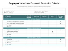 Employee Induction Form With Evaluation Criteria
