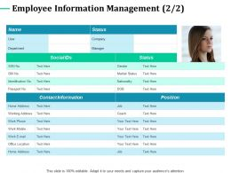 Employee Information Management Department Nationality Ppt Powerpoint Graphics