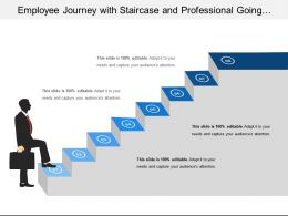 Employee Journey With Staircase And Professional Going Upward