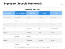 Employee Lifecycle Framework Talent Ppt Powerpoint Presentation Pictures Sample