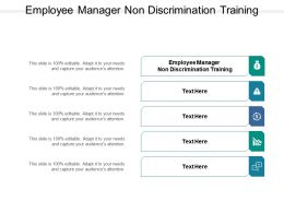 Employee Manager Non Discrimination Training Ppt Powerpoint Presentation Pictures Slides Cpb