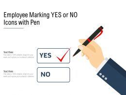 Employee Marking Yes Or No Icons With Pen