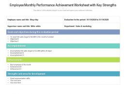 Employee Monthly Performance Achievement Worksheet With Key Strengths