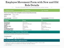 Employee Movement Form With New And Old Role Details