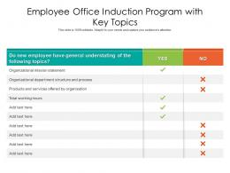 Employee Office Induction Program With Key Topics