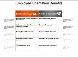 Employee Orientation Benefits Powerpoint Slide Deck