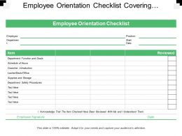 Employee Orientation Checklist Covering Departments Items And Review