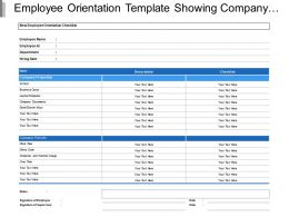 Employee Orientation Template Showing Company Properties And Policies