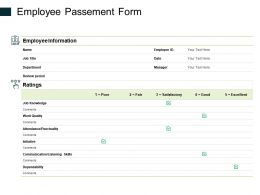 Employee Passement Form Ppt Powerpoint Presentation Pictures
