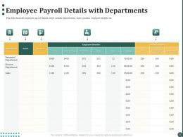 Employee Payroll Details With Departments Ppt Powerpoint Presentation Icon Backgrounds