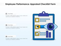 Employee Performance Appraisal Checklist Form