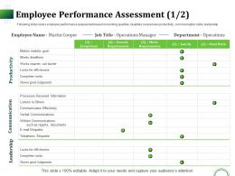 Employee Performance Assessment Goal Ppt Infographic Template