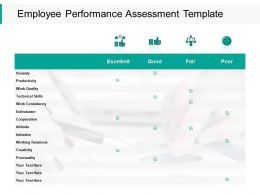 Employee Performance Assessment Productivity Ppt Powerpoint Presentation Ideas Graphics