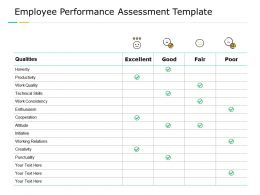 Employee Performance Assessment Template Work Quality Smile Ppt Powerpoint Presentation Summary Deck