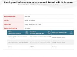 Employee Performance Improvement Report With Outcomes