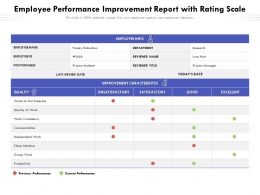 Employee Performance Improvement Report With Rating Scale