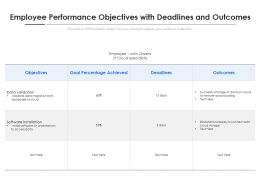 Employee Performance Objectives With Deadlines And Outcomes