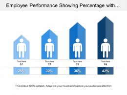 Employee Performance Showing Percentage With Silhouette