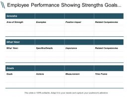 Employee Performance Showing Strengths Goals Actions Measurement