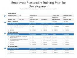 Employee Personality Training Plan For Development