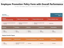 Employee Promotion Policy Form With Overall Performance
