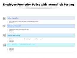 Employee Promotion Policy With Internal Job Posting