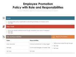 Employee Promotion Policy With Role And Responsibilities