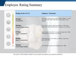 Employee Rating Summary Ppt Professional Demonstration
