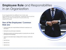 Employee Role And Responsibilities In An Organization