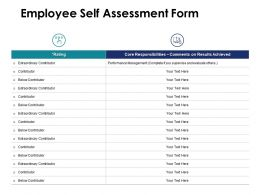 Employee Self Assessment Form Contributor Ppt Powerpoint Presentation Pictures Design Inspiration