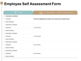 Employee Self Assessment Form Core Responsibilities Powerpoint Slides