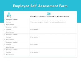Employee Self Assessment Form Extraordinary Contributor Powerpoint Presentation Summary