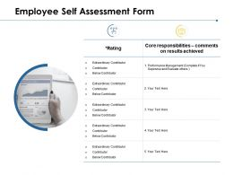 Employee Self Assessment Form Performance Management Ppt Powerpoint Presentation Model Rules
