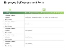 Employee Self Assessment Form Ppt Powerpoint Presentation Styles Icons