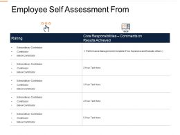 Employee Self Assessment From Ppt Powerpoint Presentation Styles