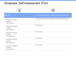 Employee Self Assessment From Results Ppt Powerpoint Presentation File