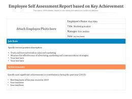 Employee Self Assessment Report Based On Key Achievement