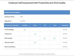 Employee Self Assessment With Productivity And Work Quality
