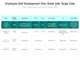 Employee Self Development Plan Sheet With Target Date