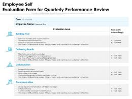 Employee Self Evaluation Form For Quarterly Performance Review