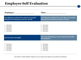 Employee Self Evaluation Ppt Powerpoint Presentation File Model