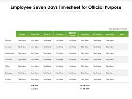 Employee Seven Days Timesheet For Official Purpose