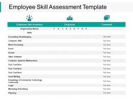 Employee Skill Assessment Planning Ppt Powerpoint Presentation Summary Professional