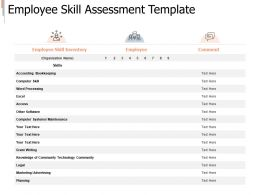 Employee Skill Assessment Template Planning Ppt Powerpoint Presentation Summary
