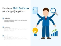 Employee Skill Set Icon With Magnifying Glass