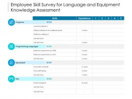 Employee Skill Survey For Language And Equipment Knowledge Assessment