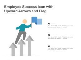 Employee Success Icon With Upward Arrows And Flag