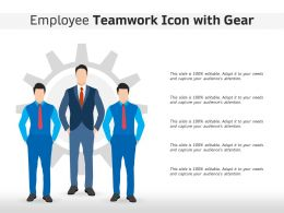 Employee Teamwork Icon With Gear