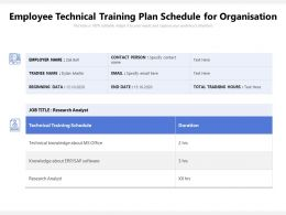 Employee Technical Training Plan Schedule For Organisation