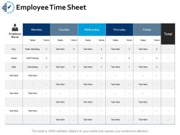 Employee Time Sheet Ppt Portfolio Aids